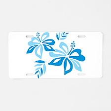 Blue Hibiscus Aluminum License Plate