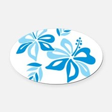 Blue Hibiscus Oval Car Magnet