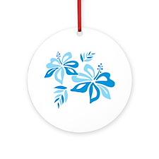 Blue Hibiscus Ornament (Round)