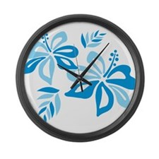 Blue Hibiscus Large Wall Clock