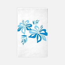Blue Hibiscus 3'x5' Area Rug
