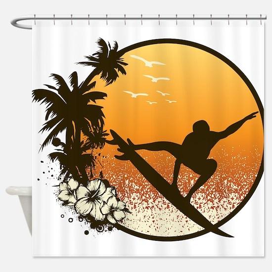 Tropics Surf Shower Curtain