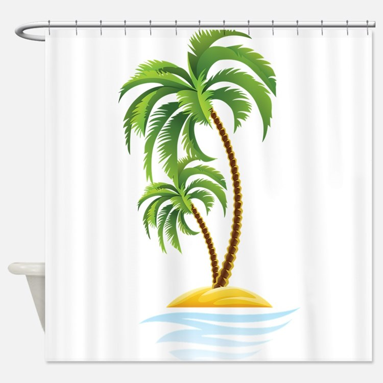 Palm Tree Shower Curtains Palm Tree Fabric Shower Curtain Liner
