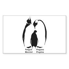 Multilingual Penguins Rectangle Decal