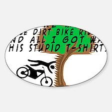 Dirt Bike Into Tree Sticker (Oval)