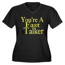 sTalker Women's Plus Size V-Neck Dark T-Shirt