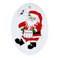 Santa Plays a Drum Christmas Oval Ornament