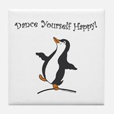 Dancing Penguin Tile Coaster