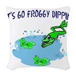 Froggy Dipping Woven Throw Pillow