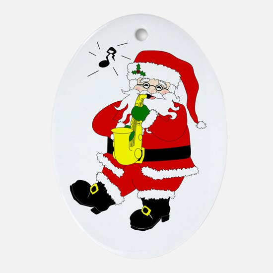 Santa Plays Sax Christmas Oval Ornament