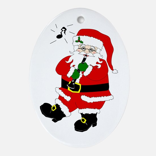 Santa Plays Clarinet Christmas Oval Ornament