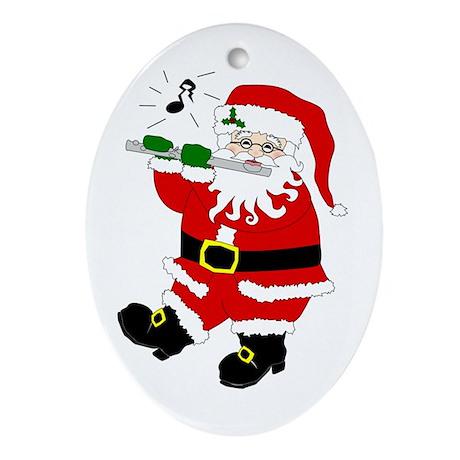 Santa Plays Flute Christmas Oval Ornament