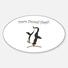 Dancing Penguin Oval Decal