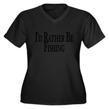 Rather Be Fishing Women's Plus Size V-Neck Dark T-