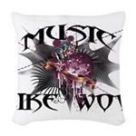 Music Like Wow Woven Throw Pillow