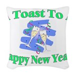New Year's Toast Woven Throw Pillow