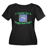 New Year's Toast Women's Plus Size Scoop Neck Dark