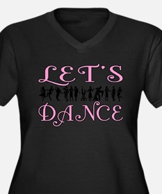 Let's Dance Women's Plus Size V-Neck Dark T-Shirt