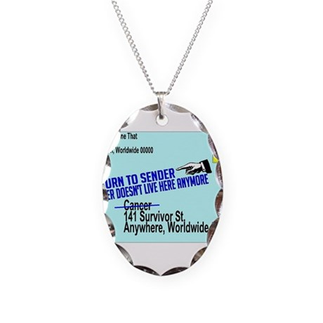 Cancer No More Necklace Oval Charm