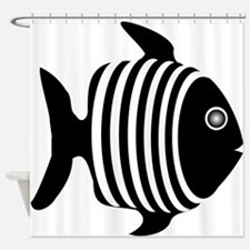 Black And White Angel Fish Shower Curtain