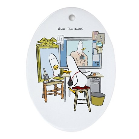 What the Duck: Self Portrait Oval Ornament