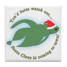 Betta Fish Christmas Tile Coaster
