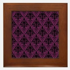 Black & Alyssum Damask #29 Framed Tile