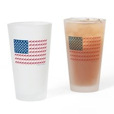 Patriotic Greyhounds Drinking Glass