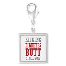 Diabetes Butt Since 2012 Silver Square Charm