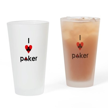 i heart poker Drinking Glass