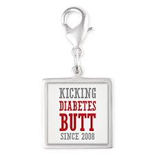 Diabetes Butt Since 2008 Silver Square Charm
