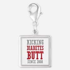 Diabetes Butt Since 2008 Silver Square Charm
