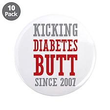 """Diabetes Butt Since 2007 3.5"""" Button (10 pack)"""