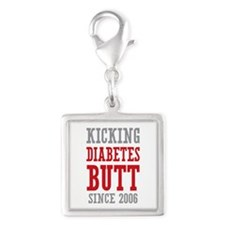 Diabetes Butt Since 2006 Silver Square Charm
