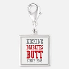 Diabetes Butt Since 2005 Silver Square Charm