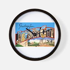 Jersey City New Jersey Greetings Wall Clock