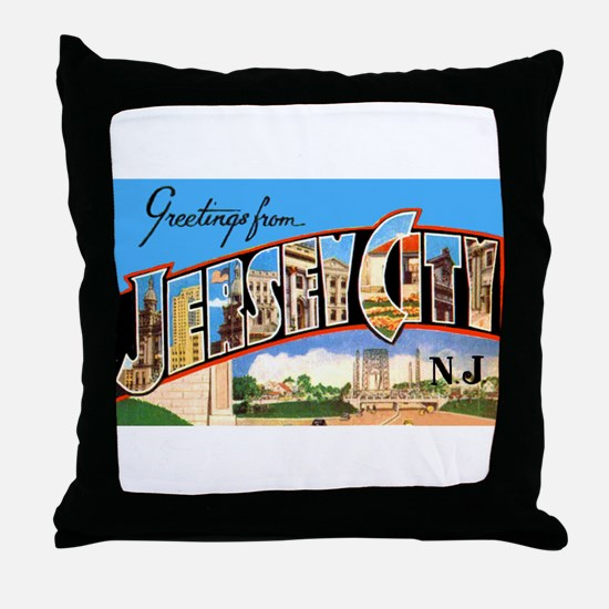 Jersey City New Jersey Greetings Throw Pillow