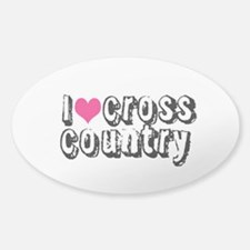 PINK i heart (love) cross country Decal