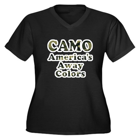 Camo America's Away Colors Women's Plus Size V-Nec