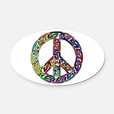 Pride and Peace Oval Car Magnet