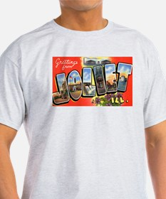 Joliet Illinois Greetings (Front) Ash Grey T-Shirt