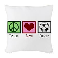 Peace Love Soccer Woven Throw Pillow