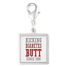 Diabetes Butt Since 1996 Silver Square Charm