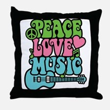 Peace-Love-Music Throw Pillow