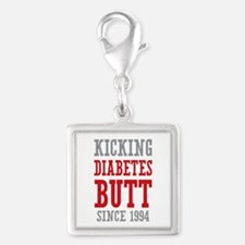 Diabetes Butt Since 1994 Silver Square Charm