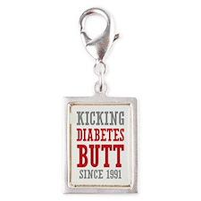 Diabetes Butt Since 1991 Silver Portrait Charm