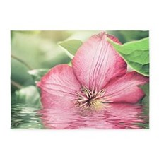 Beautiful Flower Water Reflection 5'x7'Area Rug