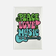 Peace-Love-Music Rectangle Magnet