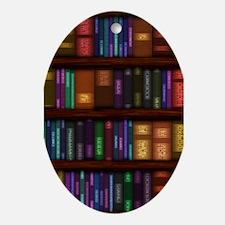 Old Bookshelves Ornament (Oval)