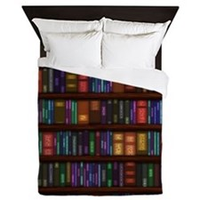 Old Bookshelves Queen Duvet